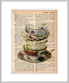 That would make a wonderful homemade gift for Rachel. Now to find an old dictionary. [teacup art print - teacup stack vintage dictionary print - book page print via Etsy. Doodles Zentangles, Book Page Art, Book Art, Illustrations, Illustration Art, Decoupage, Silverware Art, Dictionary Art, Vintage Mermaid