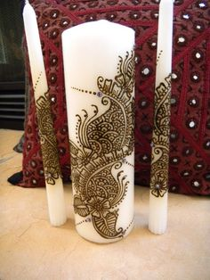 Unity Candle Set with Henna- Henna Candles with Swarowski crystals - OOAK - Unique