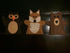 Felt Hand Puppet, Set of 3 Woodland Animals: Brown Bear, Fox, Owl  Children can…