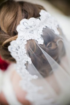 Fingertip mantilla veil, borrowed from Mrs. FroYo.  Photo by Jamie Grant Photography.