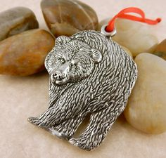 Vintage Pewter Double sided Grizzly Bear Christmas Ornament by celtictreasures…