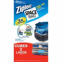 Superbe Ziploc Large Cube Space Bag Vacuum Seal Bags, 2 Pack