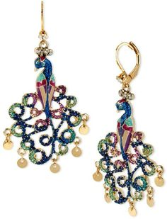 Betsey Johnson Earrings | Betsey Johnson Gold Tone Multicolor Crystal Peacock Drop Earrings in ...