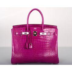 Hermès Rose Scheherazade Porosus Crocodile 35cm Birkin Bag Palladium Hardware