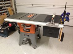 Ridgid r4512 ts shop built folding outfeed table router insert drawers hanging off of table saw greentooth Images