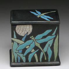 Dragonfly raku boxceramic boxhandmade treasure box by DavisVachon, $98.00