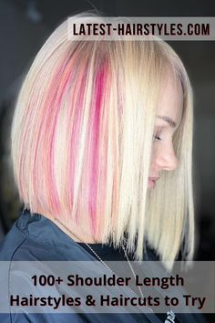 This pink blonde shoulder length cut is stunning and trendy. Go to our website to check out our collection of popular shoulder length hairstyles! Photo credit: Instagram @lavrenova_olya Latest Hairstyles, Hairstyles Haircuts, Shoulder Length Cuts, Best Salon, Hair Lengths, Photo Credit, Hair Cuts, Popular, Website