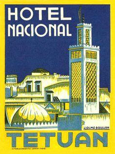 Cartel del hotel Nacional de Tetuán, ilustrado por José Olmo Boullon.
