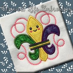 Kawaii Mardi Gras Fleur De Lis NOLA New Orleans Machine Embroidery Design Digital Applique Pattern INSTANT DOWNLOAD Beads Cake Party Mister by PersonalLife on Etsy