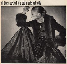 Bill Blass, portrait of a lady in silks and sable  Vogue US - August 1977  Photographed by Skrebneski