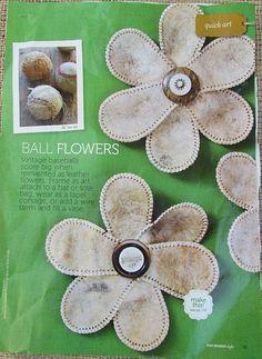 My Salvaged Treasures: Baseball Flowers