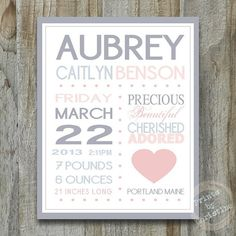 Birth Announcement Wall Art Personalized Print with Quote Your Colors Nursery Decor Subway Baby Shower Gift on Etsy, $25.50