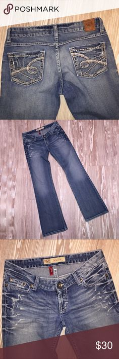 BKE Buckle Denim Stella Stretch Distressed Bootcut Used, in good condition, BKE denim and style Stella size 27 x 31.5. Stretch. Boot cut. Distressed. Belt loops are intact. No holes in pockets. Some shelfware. Mild fraying at the hams. Made in Mexico 99% cotton 1% spandex Waist 14 inches Hips 17 inches Rise 6 1/2 inches Out seam 39 inches Inseam 31 inches Hem 9 inches AA BKE Jeans Boot Cut