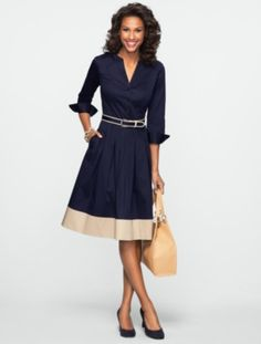 Talbots - Blocked-Hem Shirtdress | Dresses | Woman Discover your new look at Talbots. Shop our Blocked-Hem Shirtdress for stylish clothing and accessories with a modern twist at Talbots