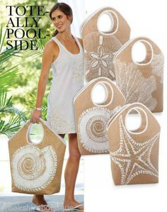 f96978aa Mud pie's natural jute shoreline nautical beach tote bag sand dollar, coral+