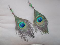 Authentic Peacock Feather Beaded  Hemp by hempcreationsbyjulie, $16.00