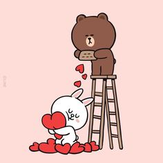 Showers of love. Cute Couple Cartoon, Cute Love Cartoons, Cute Couple Art, Funny Cartoons, Cute Love Pictures, Cute Love Gif, Cute Love Memes, Lisa Blackpink Wallpaper, Brown Wallpaper