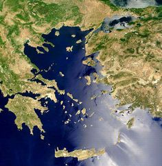 The Aegean Sea (Greek: Αιγαίο Πέλαγος is an elongated embayment of the Mediterranean Sea located between the southern Balkan and Anatolian peninsulas, i.e., between the mainlands of Greece and Turkey.