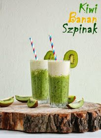 Kiwi spinach and banana smoothie. Banana kiwi and spinach! Start Your day healthy with this amazing two layered smoothie! (in Polish with translator) Juice Smoothie, Smoothie Drinks, Healthy Smoothies, Cocktail Recipes, Cocktails, Breakfast Options, Fruit Drinks, Kiwi, Fruits And Veggies