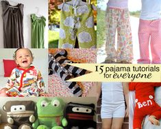 15 great pajama and nightgown tutorials you can use for kids, women and men - Just in time for those Christmas Jammies!!