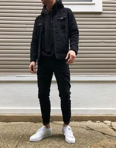 Mens Fall Outfits, Cool Outfits For Men, Stylish Mens Outfits, Stylish Clothes For Men, Outfit Ideas For Guys, Mens Casual Winter Clothes, Guys Casual Fashion, Jean Outfits For Men, Black Outfits For Guys