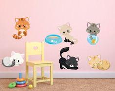 Kitten Wall Decals, Kids Fabric Wall Decals, Cats Wall Decal, Removable,  Reusable Kittens Fabric Decal, Kittens , Kids Wall Decals