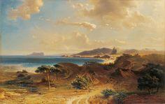 Playa de Estepona con la vista del Peñón de Gibraltar Fritz Bamberger  Colección Carmen Thyssen-Bornemisza en préstamo gratuito al Museo Carmen Thyssen Málaga