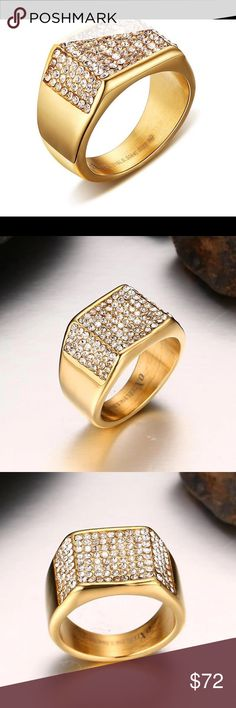 Coming Soon Men's  Never Fade CZ Crystal Ring New Arrival Men Stainless Steel Ring AAA CZ  jewelry High quality Gold color Never fade Queen Esther Etc Accessories Jewelry