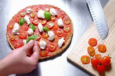 This is just our example of some toppings to be enjoyed on our homemade pizza crust, a simple tomato and cheese with basil, we'll leave it to your taste buds to add your own toppings. Vegetarian Pizza, Healthy Pizza, Low Carb Pizza, Vegetarian Recipes, Eating Healthy, Lunch Recipes, Healthy Food, Dinner Recipes, Simply Recipes