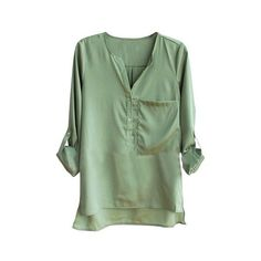 Collarless Fold-up Sleeve Shirt ($56) ❤ liked on Polyvore featuring tops, blouses, shirts, blusas, long-sleeve crop tops, pocket shirts, green long sleeve shirt, long sleeve shirts and v-neck shirt