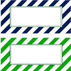 striped labels: free printable from TomKat Studio and PBKids--perfect for labeling bins in James' new room