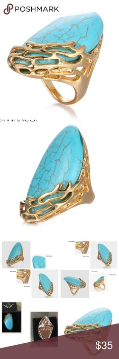 Big and Beautiful Natural Turquoise Statement Ring Natural Turquoise Stone, big and bold statement ring.  Gold plated.  Comes in size 7 and 8. High quality product. Jewelry Rings