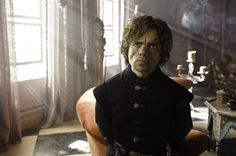Peter Dinklage as Tyrion Lannister, now permanently scarred after the Battle of Blackwater. (In the book, he actually loses his nose.)