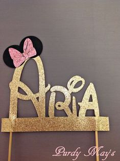 Minnie Mouse Cake Topper, Custom Disney Font Name Cake Topper, Minnie Mouse…