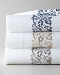 -4A9X SFERRA  King 406TC Plumes Embroidered Flat Sheet Full/Queen 406TC Plumes Embroidered Flat Sheet