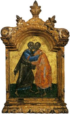 The Holy kiss. The apostles Peter and Paul (triptych, Central part); Byzantine Icons, Byzantine Art, Religious Icons, Religious Art, Russian Icons, Russian Orthodox, Orthodox Christianity, Black History Facts, Orthodox Icons