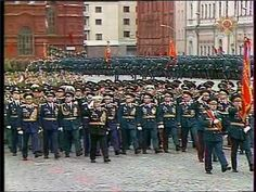 Soviet Veterans who participated in the 1945 Moscow Victory Parade marching through Red Square in the 1985 Moscow Victory Day Parade.