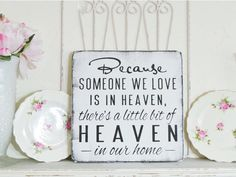 Remembrance Gift! Because Someone Is In Heaven/ Heaven in our Home, Memorial Shelf Sitter Condolence Plaque Brown Ivory Subway Style Sign Remembrance Gifts, Bridal Party Shirts, Families Are Forever, Memorial Gifts, Wood Plaques, Wood Gifts, Love Design, Home Signs, Christmas Sweaters