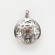 Pandantiv amuletă mandala două fețe, argint, coral și turcoaz, Nepal #metaphora #silverjewelry #amulet #silveramulet #pendants