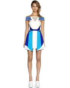 Blue Boat Neck Off the Shoulder Patchwork Pleated Color Block Dress [15071600713] - $51.86 | Letsmi.com