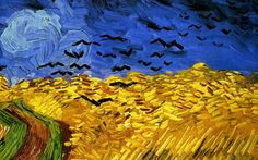 Vincent Van Gogh - Crows over Wheatfield (detail), 1890 This wheat field is just across the road from the cemetary where Vincent and Theo are buried. Vincent Van Gogh, Van Gogh Wallpaper, Painting Wallpaper, Paul Gauguin, Van Gogh Arte, Art Van, Van Gogh Paintings, Wheat Fields, Amazing Paintings