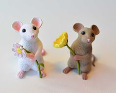 Flower Mice #Polymer #Clay #Tutorials                                                                                                                                                                                 More