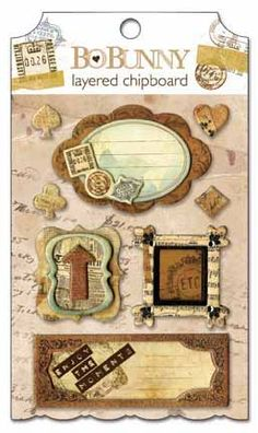 Bo Bunny Press - Et Cetera Collection - Layered Chipboard Stickers  with Glitter and Jewel Accents at Scrapbook.com $4.49