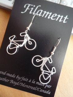 For the bike lover in your life. Very lightweight wire bike earrings with surgical steel hooks. Click on the image to view in my Etsy shop.