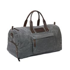 Handmade waxed Canvas and leather duffel carry on hold all bag