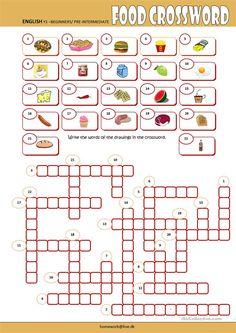 Food Crossword worksheet - Free ESL printable worksheets made by teachers