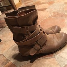 Strappy tan booties My style has changed, nothing wrong with the boots! Madden Girl Shoes Ankle Boots & Booties