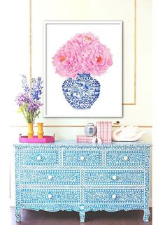 China Vase, Living Room Decor, Bedroom Decor, Dining Room, Bedroom Ideas, Peony Print, Blue And White China, Blue China, Pink White