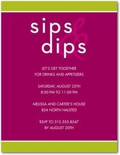 """party idea - """"sips & dips"""". Totally doing this! @alyxkorn get ready!!"""
