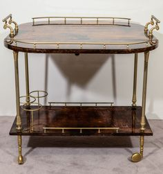 Vintage Italian Br And Gl Two Tier Bar Cart Pinterest Carts
